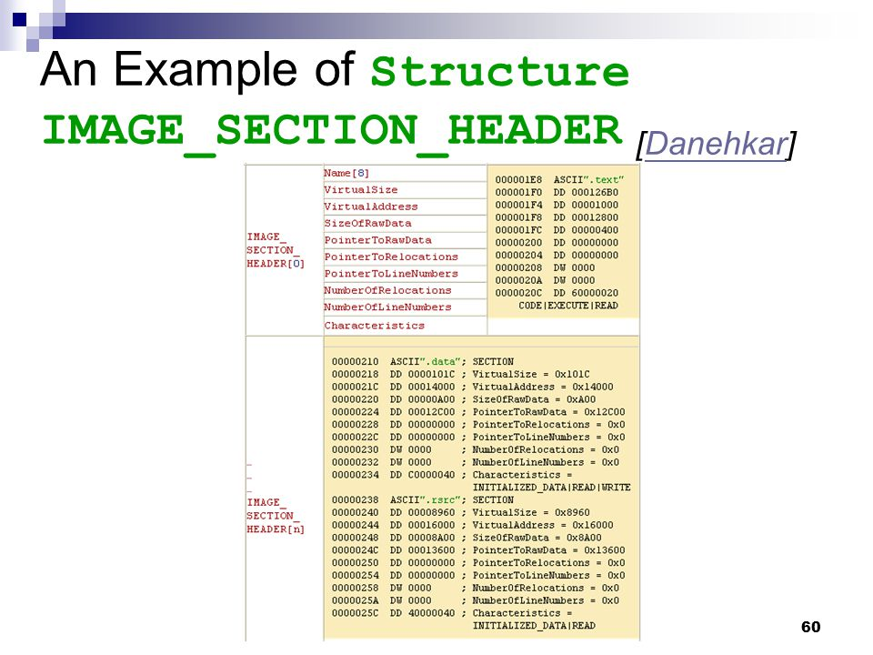 An Example of Structure IMAGE_SECTION_HEADER [Danehkar]